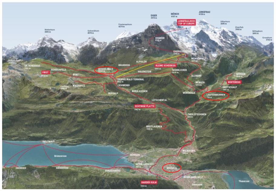 Mapa Jungfraubahn
